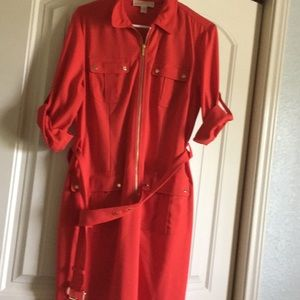 Red Michael Kors dress with gold accents Size L